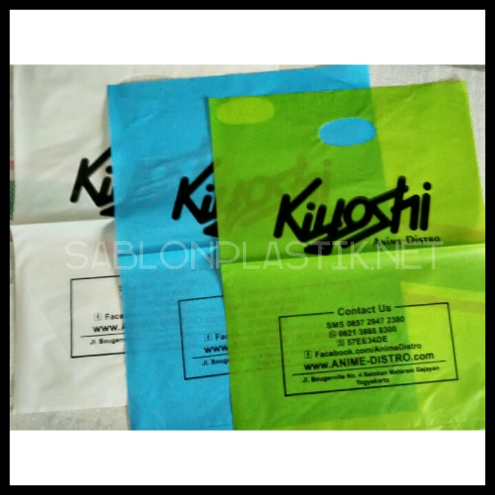 Sablon Plastik Plong Yogyakarta pesanan Kiyoshi