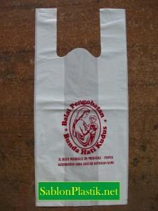 Sablon Plastik Kresek Merauke pesanan Balai Pengobatan Bunda Hati Kudus