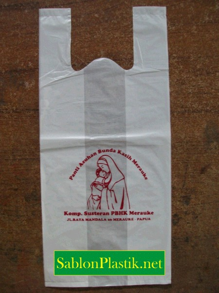 Sablon Plastik Kresek Merauke pesanan Panti Asuhan Bunda Kasih Merauke