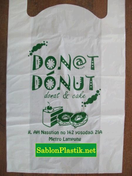 Sablon Plastik Kresek Mertro Lampung pesanan Donat-donut