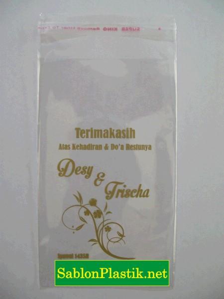 Sablon Plastik OPP Garut pesanan Pernikahan Desy & Trischa