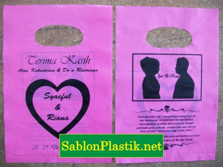 Sablon Plastik Plong Bandung pesanan Wedding Ipul &  Ririn