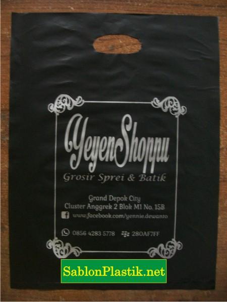 Sablon Plastik Plong Jakarta pesanan Yeyen Shop