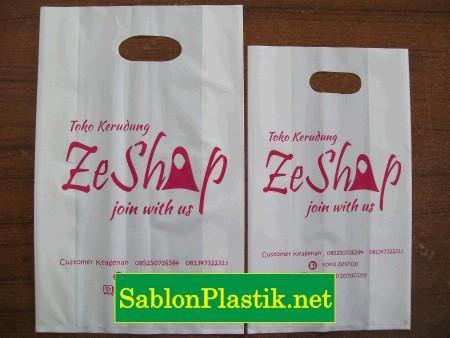 Sablon Plastik Plong Lipat Samarinda pesanan Toko Kerudung Zeshop
