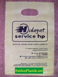 Sablon Plastik Plong Papua pesanan Hidayat Service HP