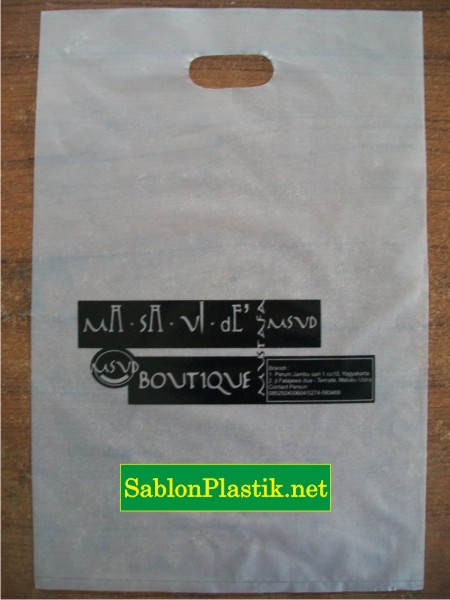 Sablon Plastik Plong Ternate pesanan MSVD Boutique