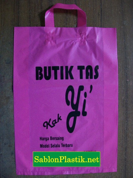 Sablon Plastik Cangklong Makassar pesanan Butik Tas Kak Yi'