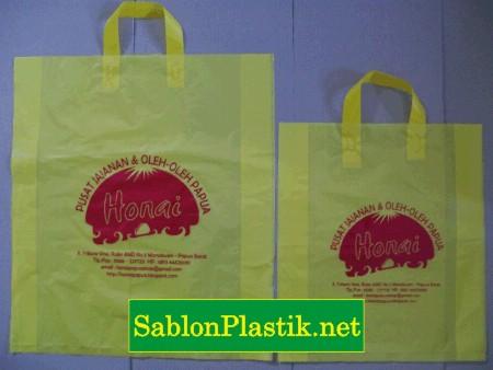 Sablon Plastik Cangklong Papua pesanan Toko Honai