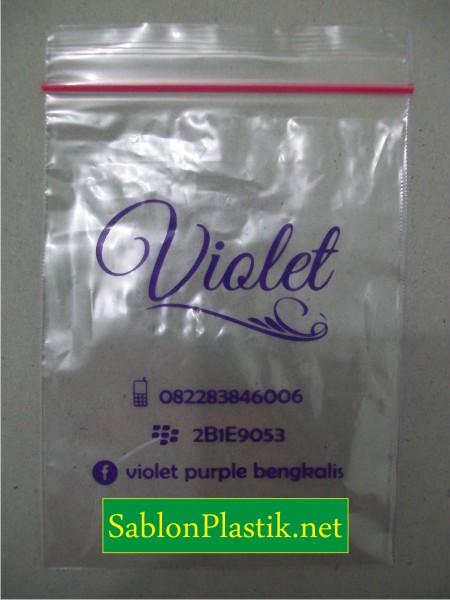 Sablon Plastik Klip Bengkalis pesanan Violet