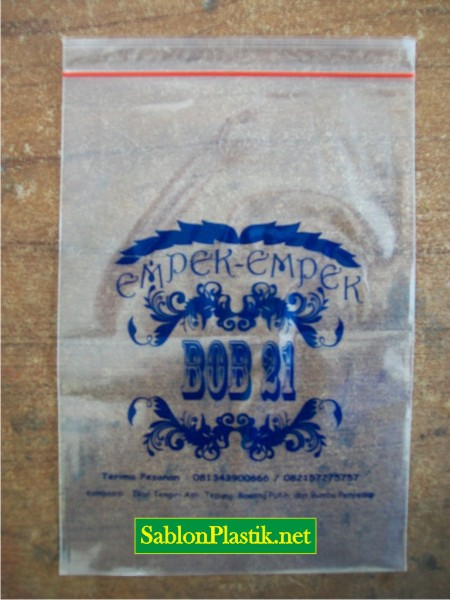 Sablon Plastik Klip Bontang pesanan Empek-empek BOB 21