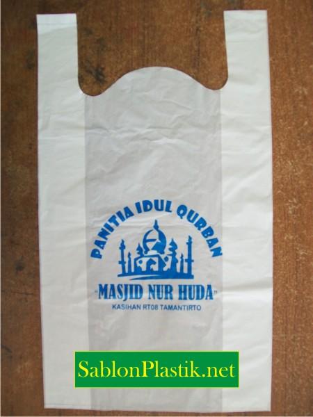 Sablon Plastik Kresek Jogja pesanan Panitia Idul Qurban Masjid Nur Huda