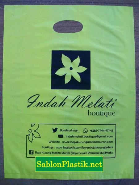 Sablon Plastik Plong Jakarta pesanan Indah Melati Boutique