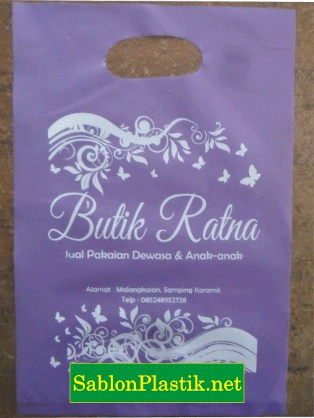 Sablon Plastik Plong Kotabaru pesanan Butik Ratna