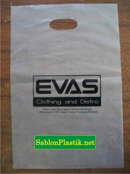 Sablon Plastik Plong Yogyakarta pesanan Evas Distro