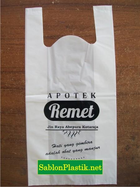 Sablon Plastik kresek Papua pesanan Apotek Remet